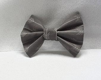 gray arrow hair bow, hair accessories,fabric hair bow,arrow clips