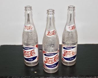 Pepsi Cola swirl spiral soda bottles,Duraglas,1946,12 oz pepsi bottle,Allentown PA,antique soda bottles,rare,1940s,red,white,blue,set of 3,
