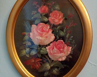 Wood collection plate with rose Decor 28 x 22 cm