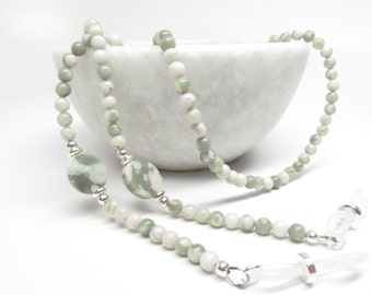 Beaded Eyeglass Chain in Peace Stone Gemstone, Reading Glasses Chain, Beaded Eyeglass Necklace, Womens Eyeglasses Chain, Eyeglasses Lanyard