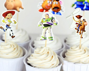Disney  Toy Story Cupcake- Double Sided Toppers/ Food Picks Party Decorating Favor Set of 24