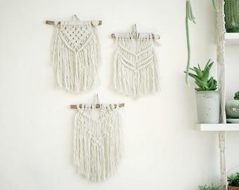 Macrame Tapestry,Boho Wall Hanging,3 Macrame Wall Hanging,Small Macrame Hanging, Wall Tapestry, Boho decor, Wall art, Trio tapestry
