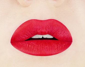 Flamenco Red Liquid Lipstick. True Red Lipstick.  Vegan and Cruelty-Free Lipstick.  Liquid to Matte Lipstick.