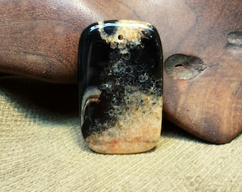 Sale #EarthDay ~ Thick Double Sided Orange Crystal and Black Agate Druzy Rectangle