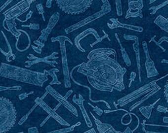 Craftsman from Quilting Treasures - Full or Half Yard of dark blue tool toile