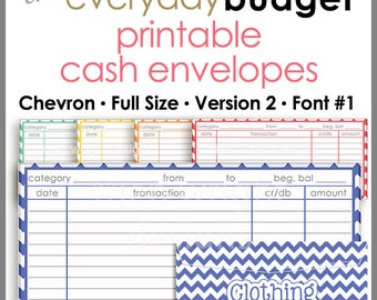 Chevron Printable Cash Envelope Ver.2, Budget Envelope System, Cash Organizer - Set of 5, Instant Download - PB1503