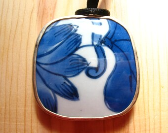 Cobalt Blue and White Porcelain Pendant Necklace on Satin Necklace Cord