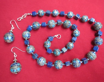 Lapis & Enameled Chinese Coin Silver Necklace Earrings Set