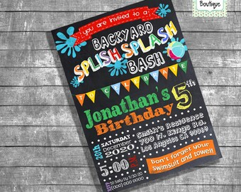 Backyard Splish Splash Party Bash invitation birthday party pool invite chalkboard digital printable invitation you print invite I13150