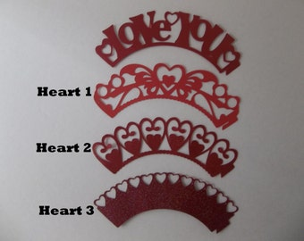 Love Cupcake Wrapper/ wedding cupcake wrapper/ wrapper/ Set of 12