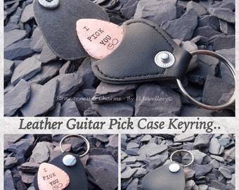 Hand Stamped Personalised Guitar Pick with Leather Keyring Case, Plectrum, Couples Gift, Valentines, Music, Copper, Aluminium, Couples Gift.