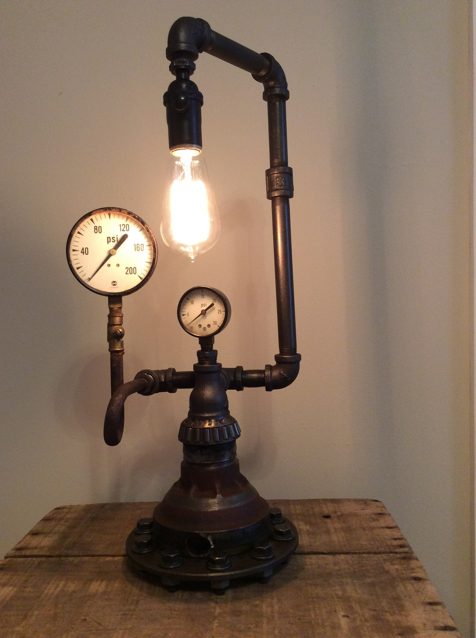 steel pipe industrial fixture iron steampunk lamps room living products lamp the light black wall