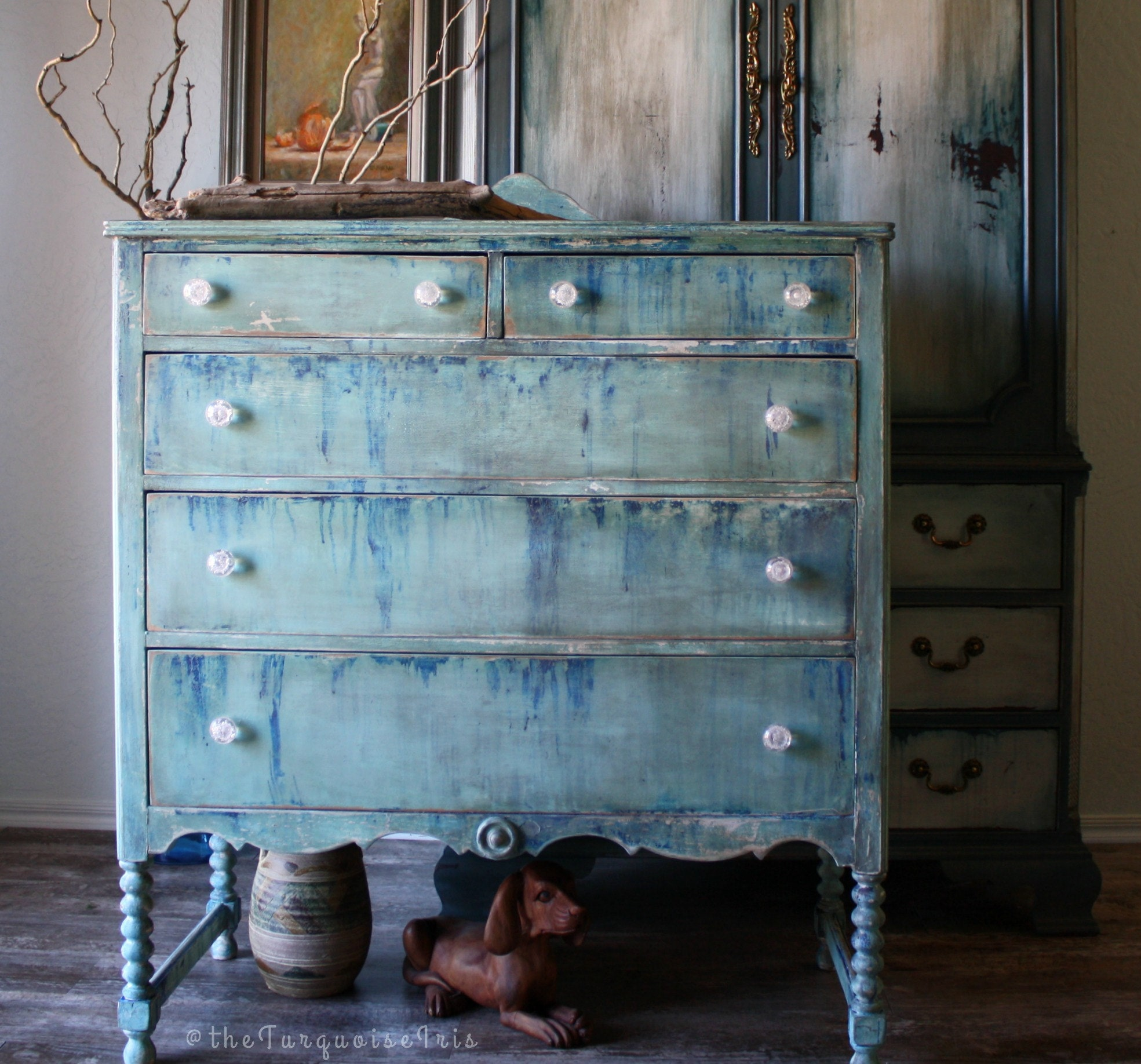 room pug craft the with cabinet for from makeover you chair evija furniture see can handpainted budget turquoise here