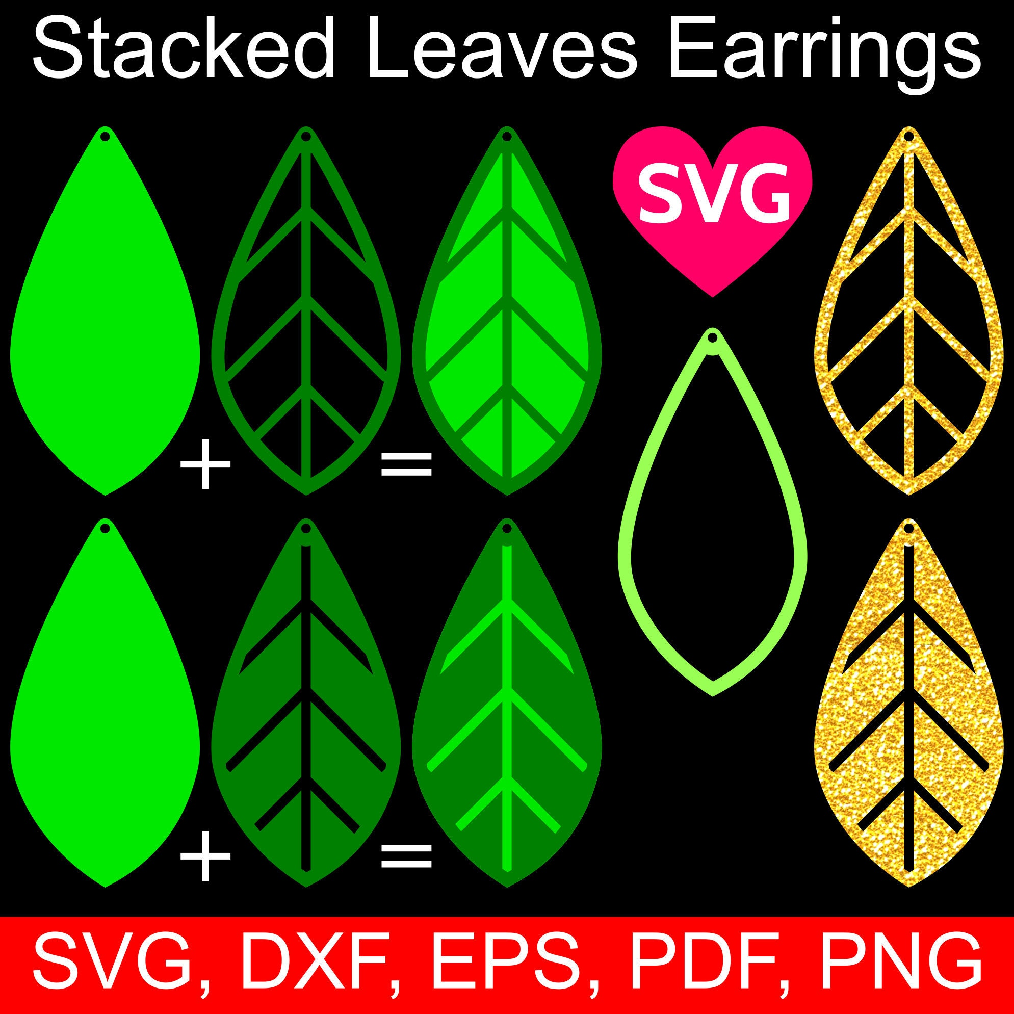 Leaf earrings SVG