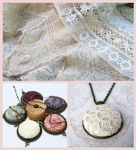 Antique and vintage lace with textile necklaces.