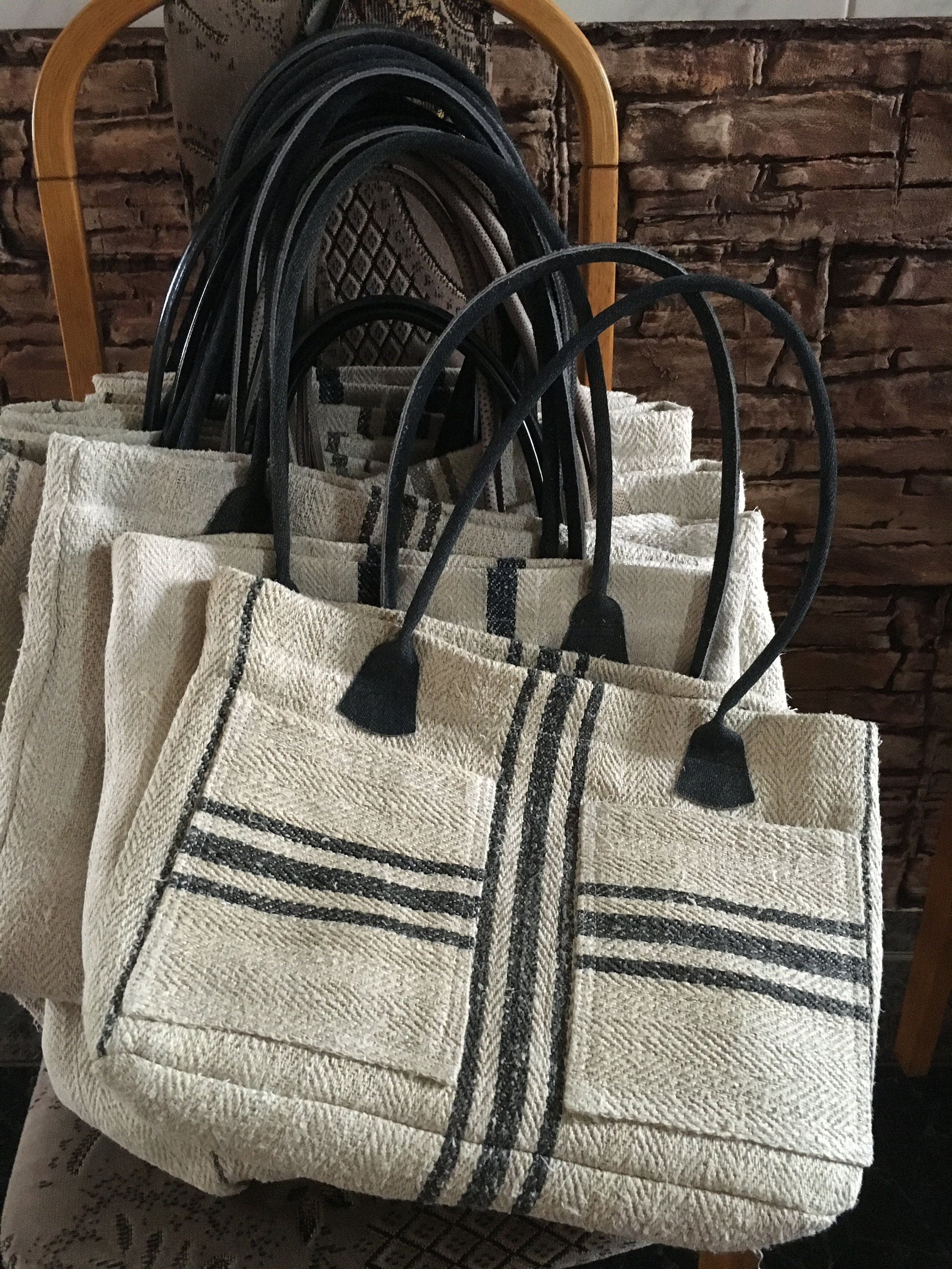 Vintage grain sack stripy handbags