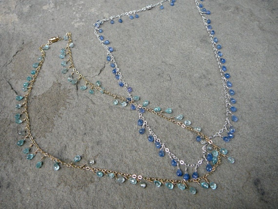Blue Zircon Necklace, Blue Sapphire Briolette Necklace, Delicate Necklace, Briolette Beads, Blue Zircon Jewelry, Zircon Beads, Blue Gems