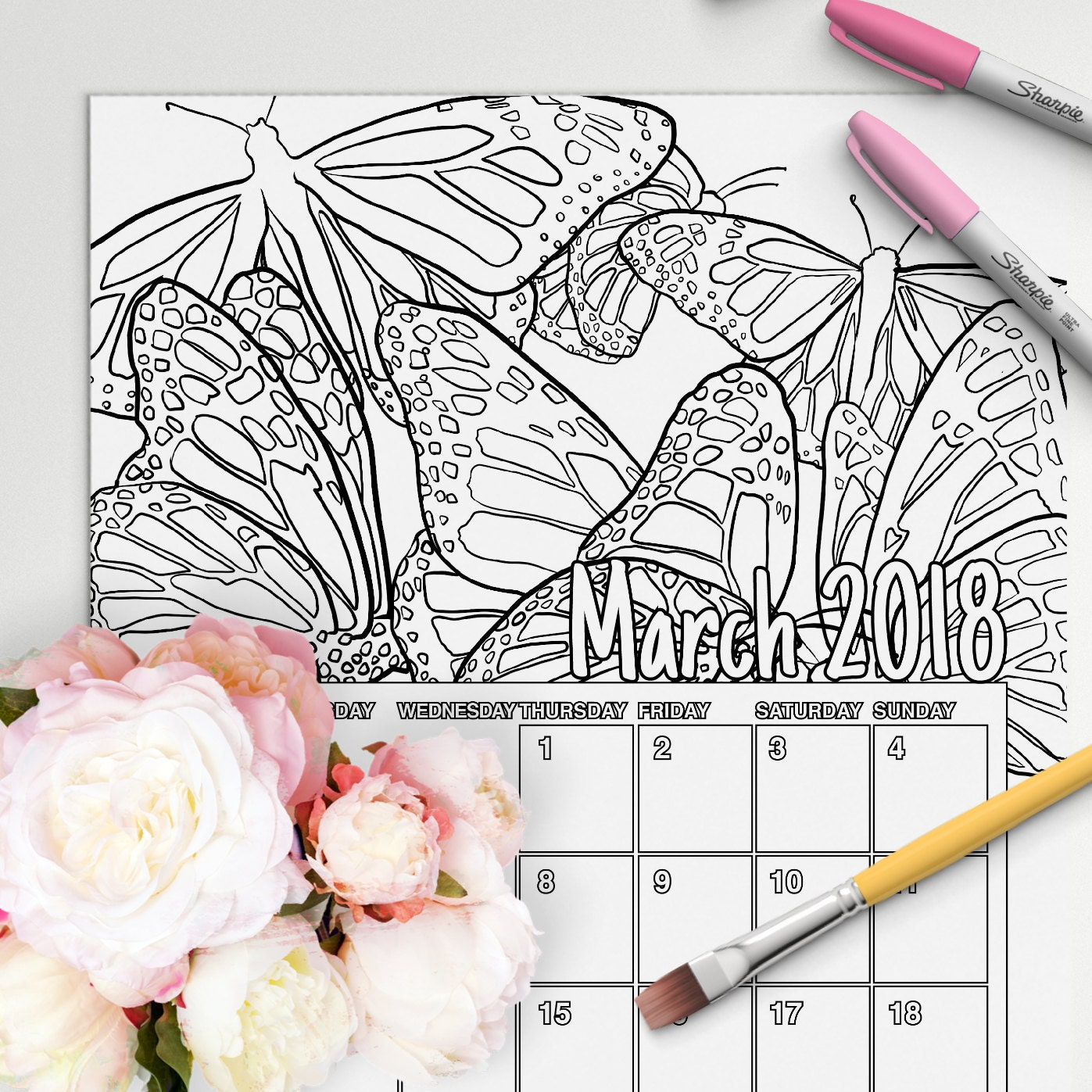 March - coloring book calendar 2018