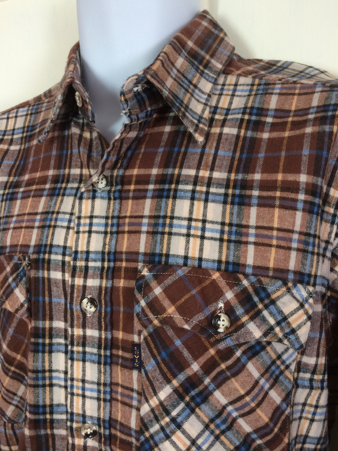 Brown and blue plaid cotton flannel