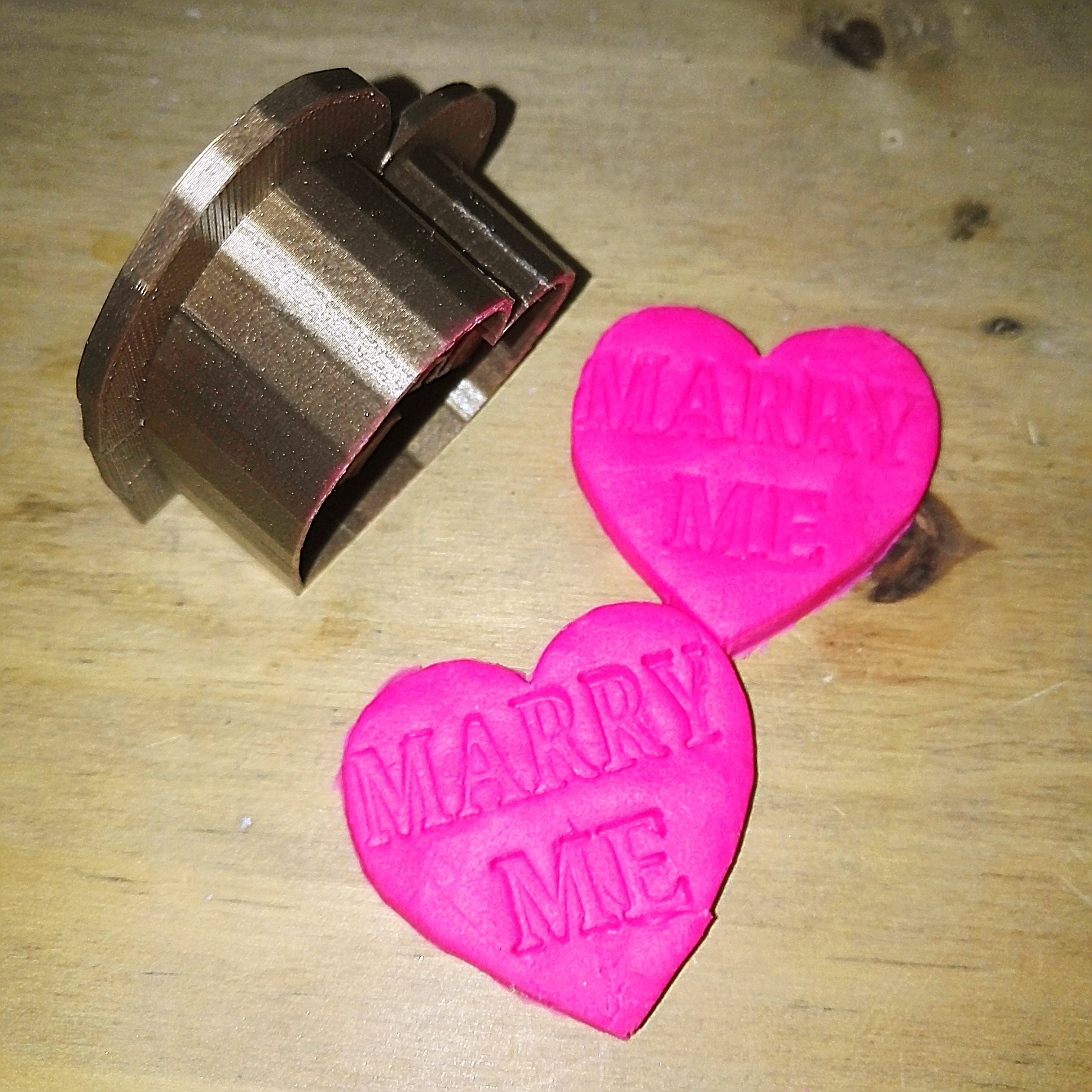 Marry Me -  3d Printed Gold Marriage Proposal Valentines Day Cookie Dough Cutter