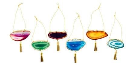 Set of 6 Boho Agate Ornaments