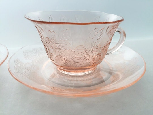 Dogwood Depression Glass Teacup and Saucer by Macbeth Evans Glass