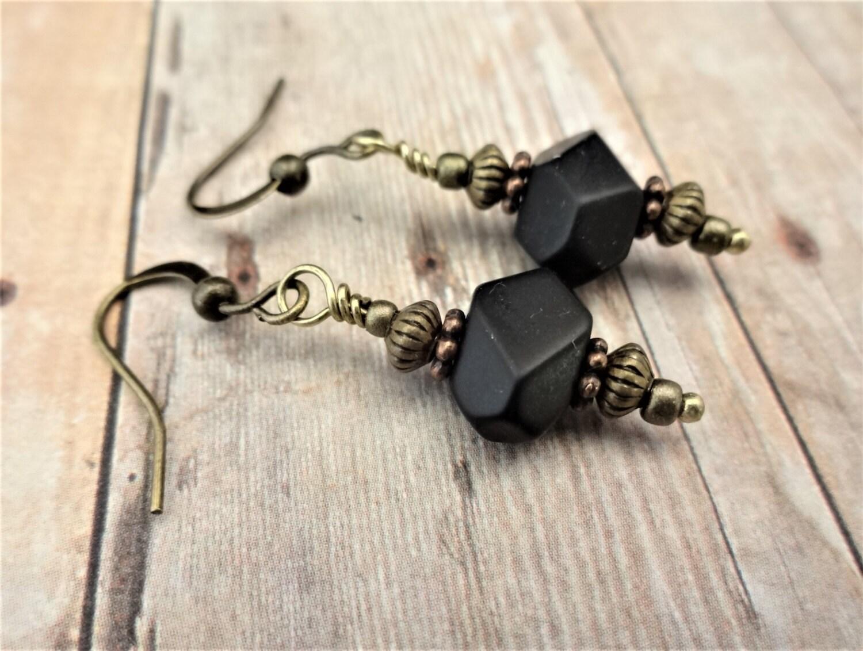 Black Onyx Nugget Earrings