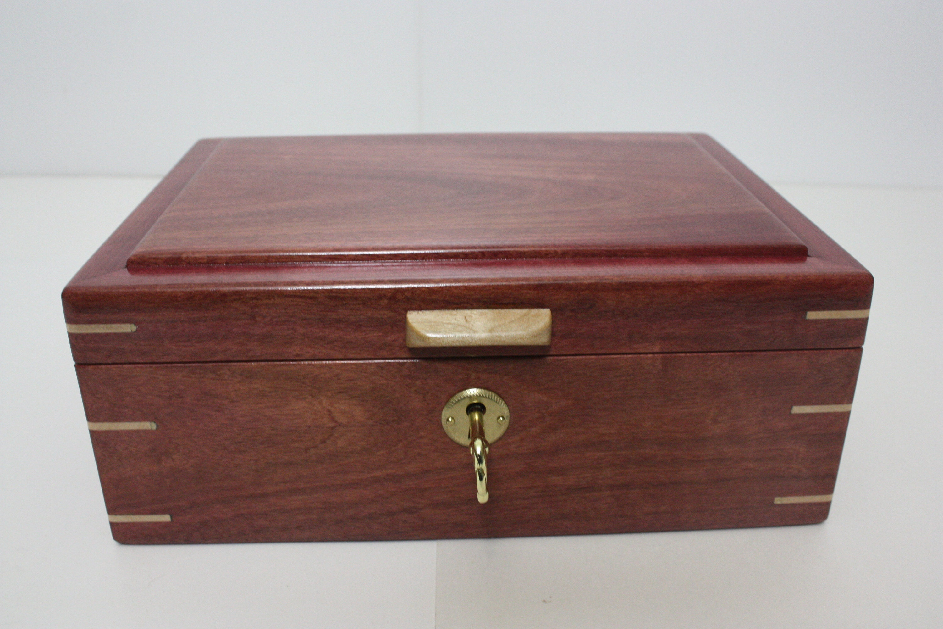 Handmade Locking Purple Heart Wood Box