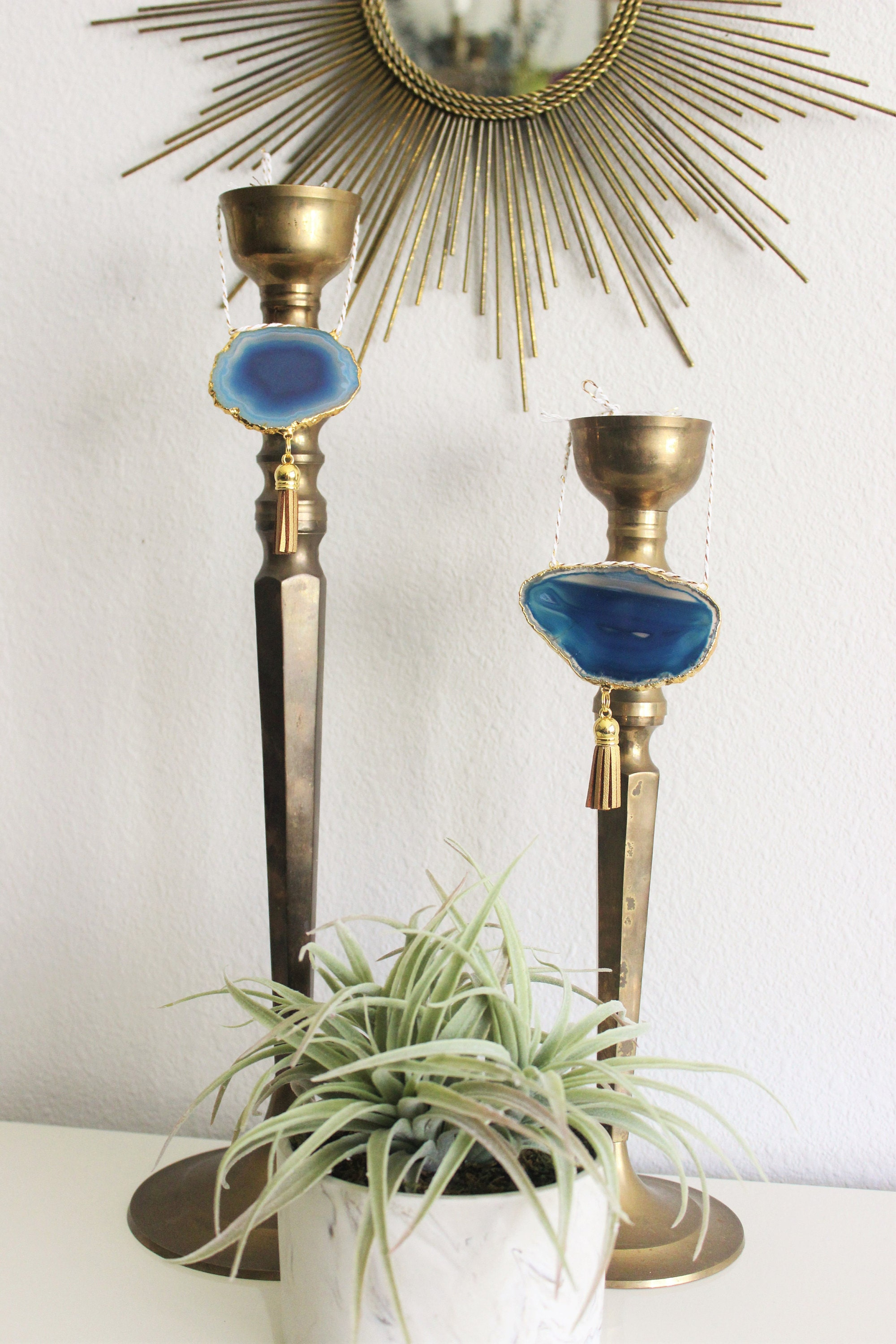 Blue Boho Agate Ornaments shown on Vintage Brass Candle Holders