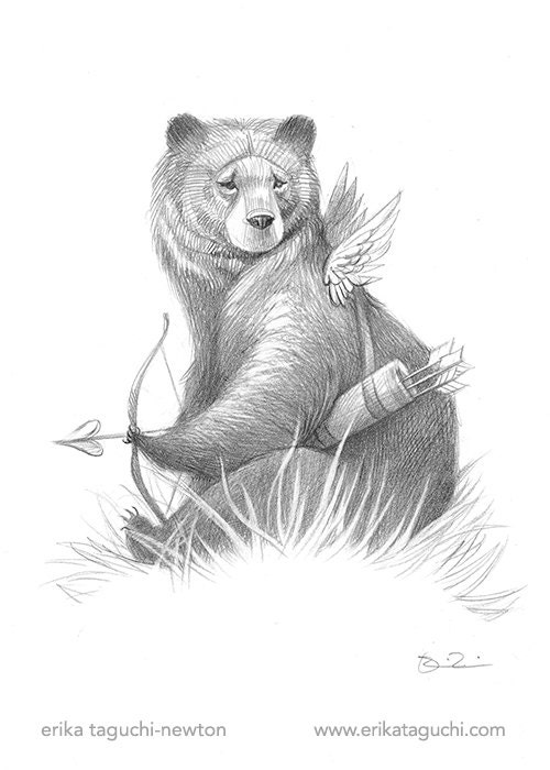 Sketch of Valentine Cupid Bear