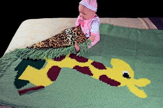 Giraffe Baby Blanket -- Green