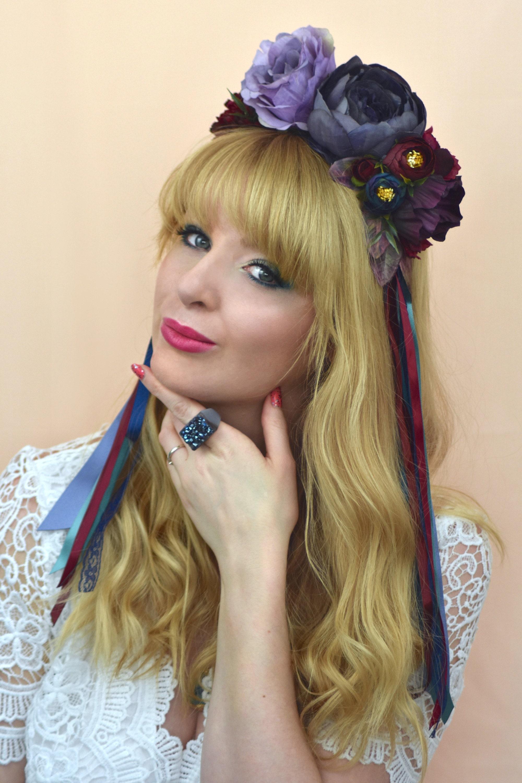 blue flower crown bridal headpiece festival headband bride