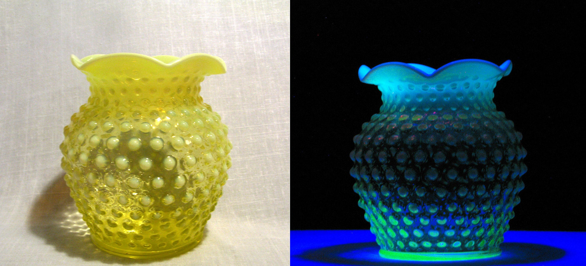 Imperial Glass Co Hobnail Vaseline Glass Vase in normal light (left) and under black light (right)