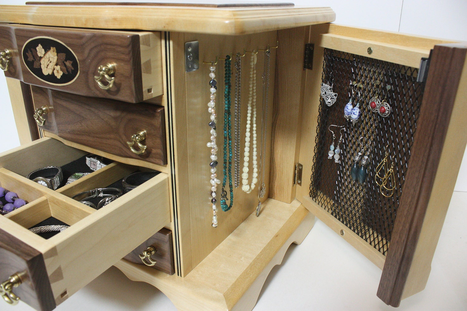 Handmade Walnut Jewelry box with Necklace Holder For Sale
