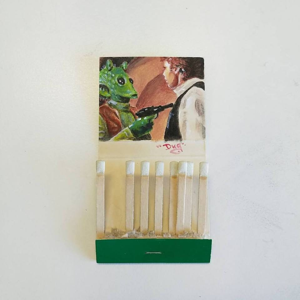 Shoot first.  Acrylic on vintage matchbook