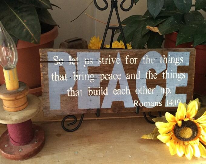 Peace Barnwood Bible Verse sign