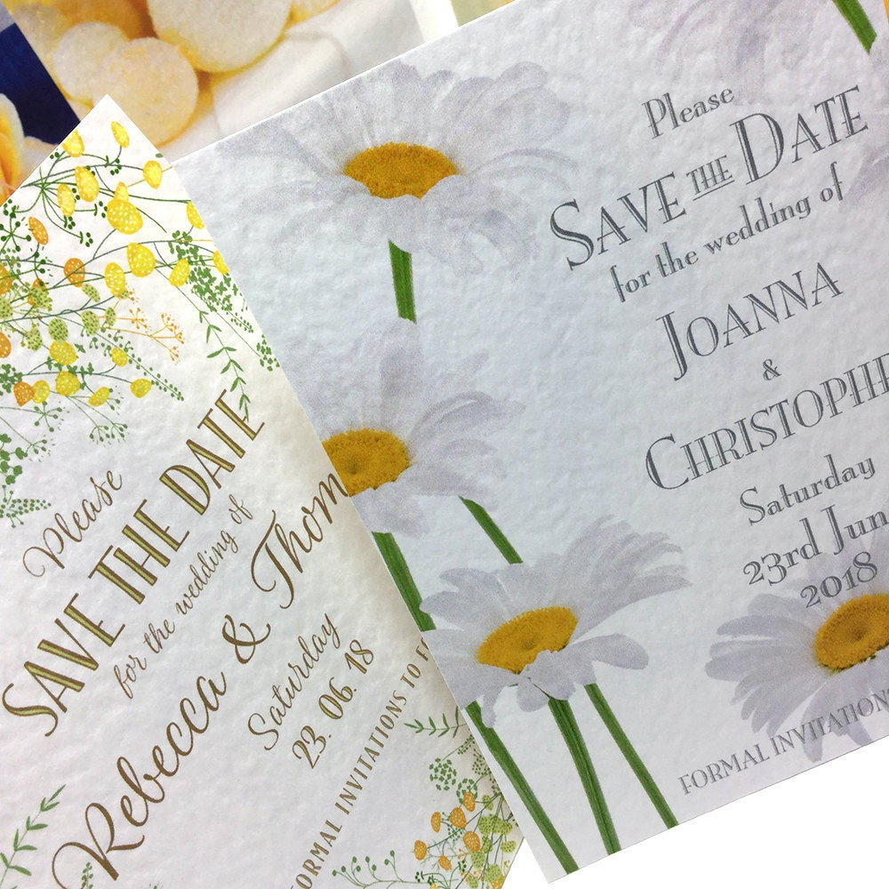 yellow daisy save the date cards