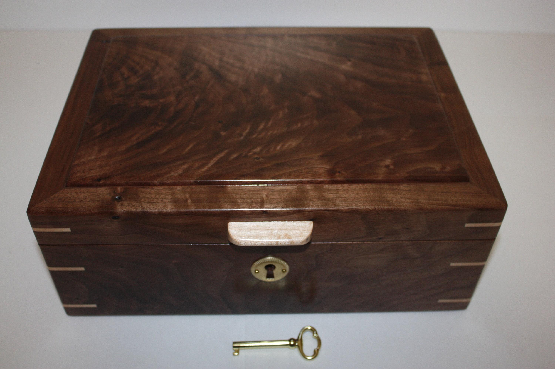 Handmade Locking Walnut Wood Box For Sale