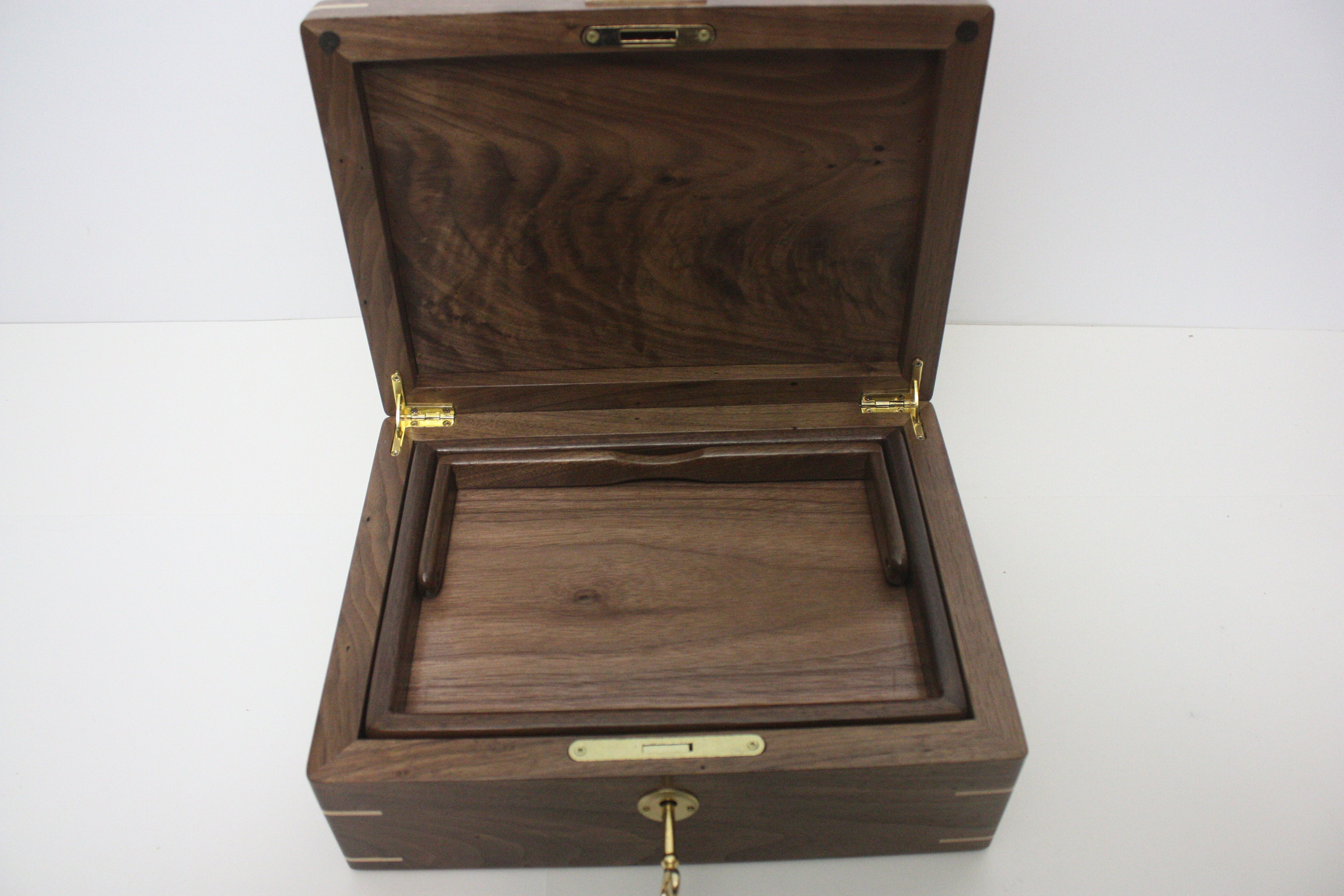 Locking Walnut Box with Lift Out Tray