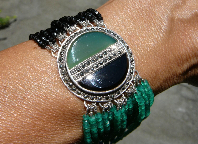 Art Deco Bracelet, Onyx Bracelet, Art Deco Brooch, Art Deco Jewelry, Gemstone Bracelet, Gemstone Jewelry, Gemstone, Repurposed Jewelry