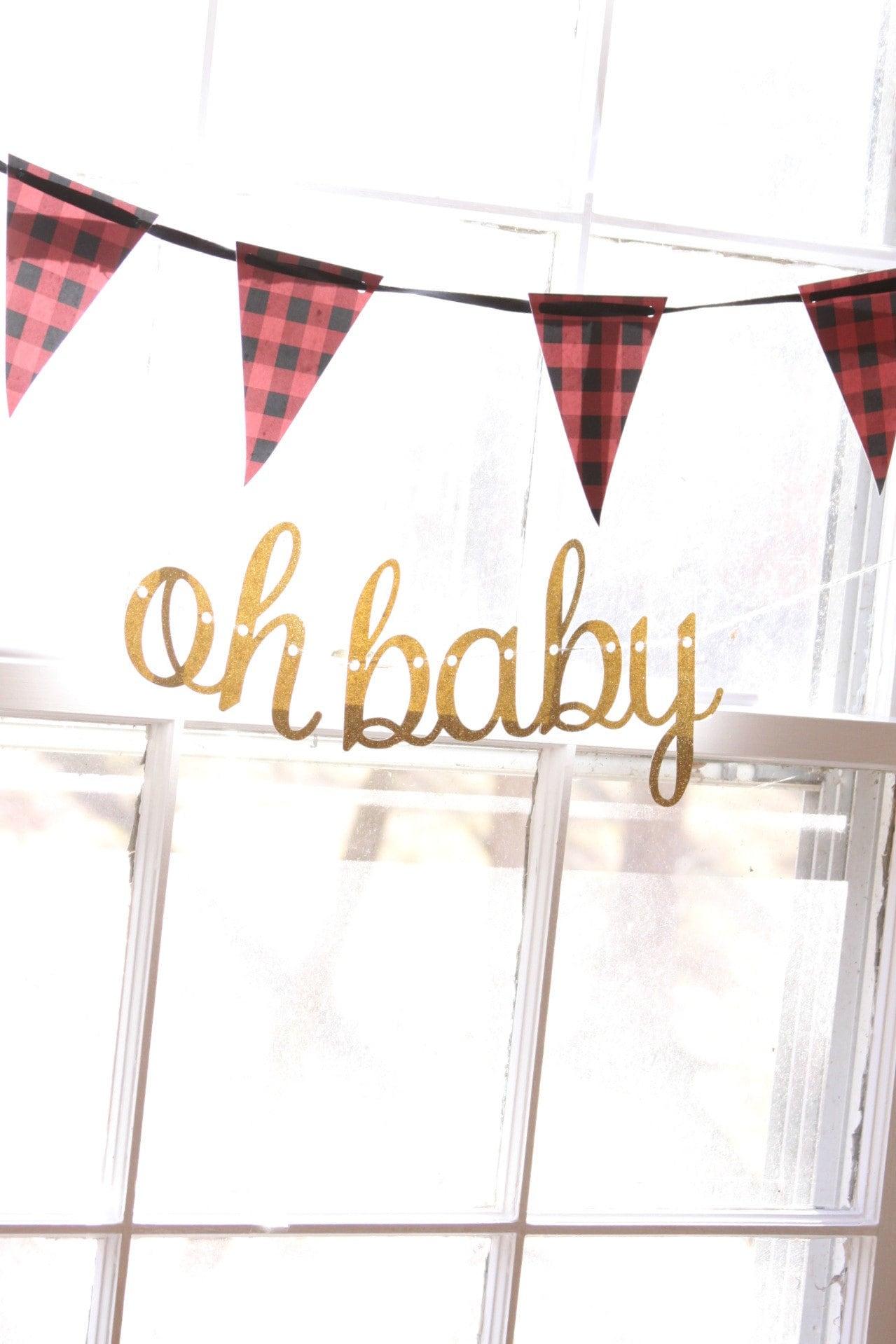 Oh Baby Lumberjack Baby Shower Banner