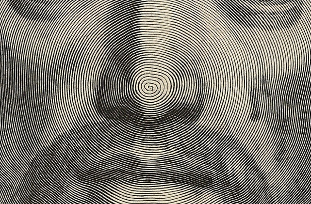 A single continuous line spirals from the tip of nose in this curious technique used to illustrate the face of Jesus Christ.