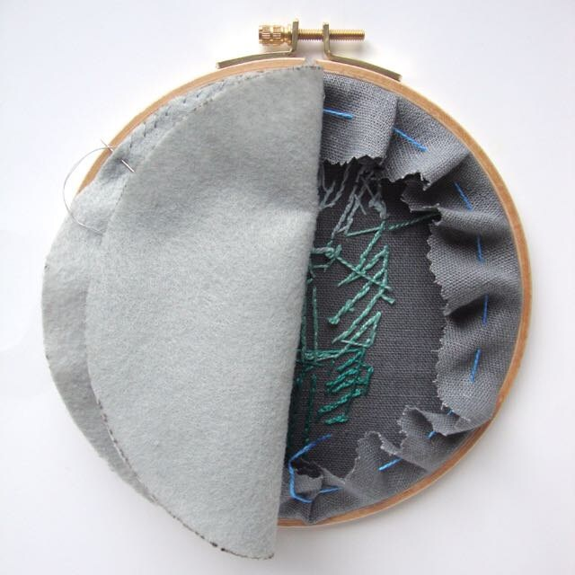 Back your embroidery hoop: layer on backing felt.