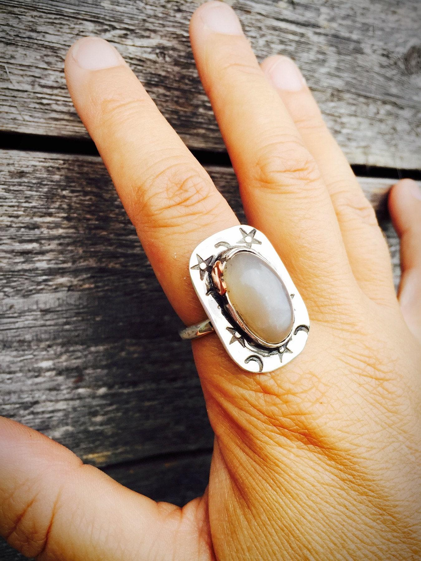 Moon & Stars Moonstone Ring