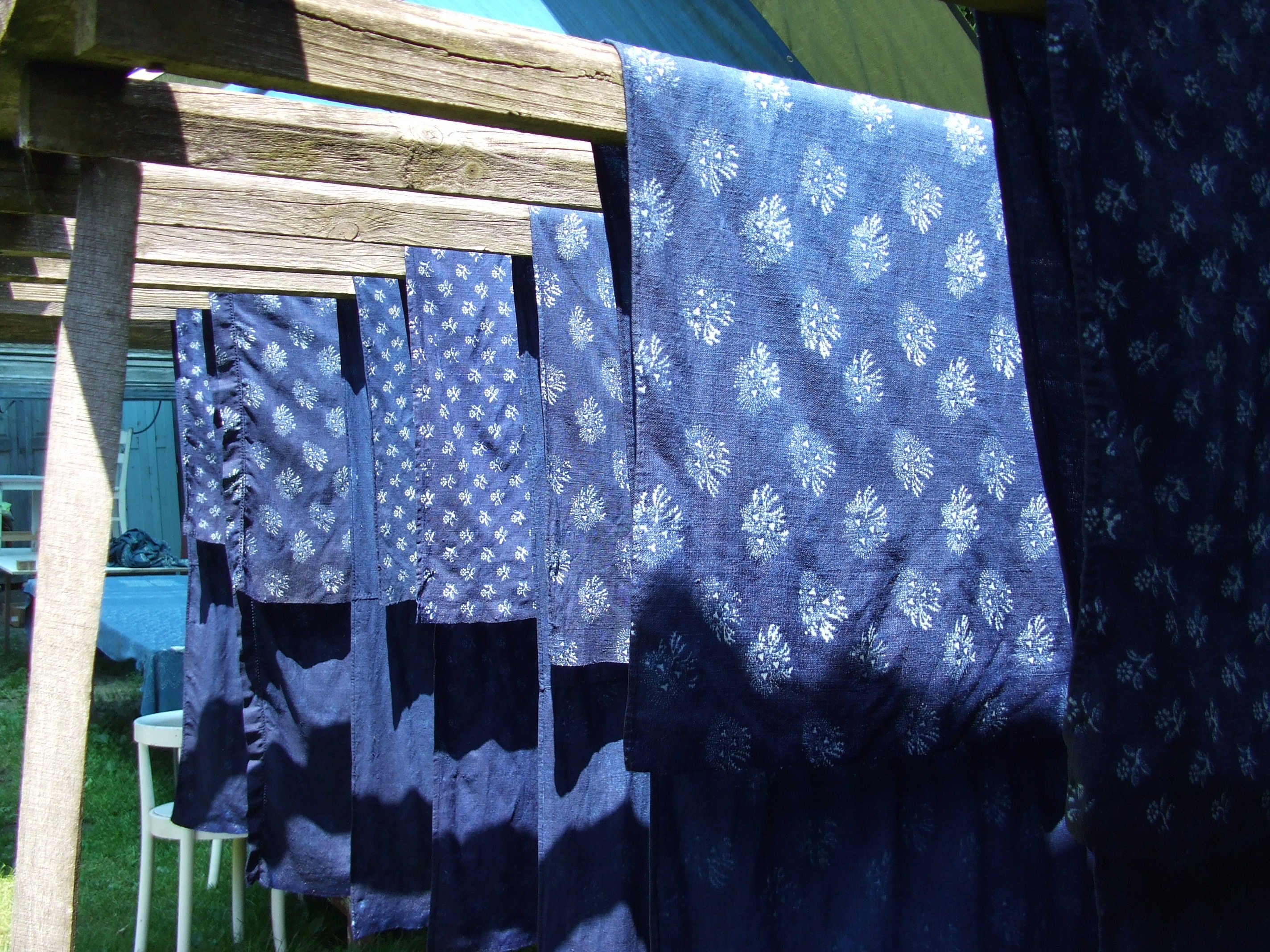 Indigo Linen Drying