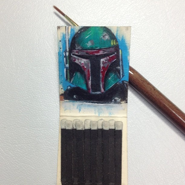 Boba Fett 1.5x1.5 Acrylic on vintage matchbook