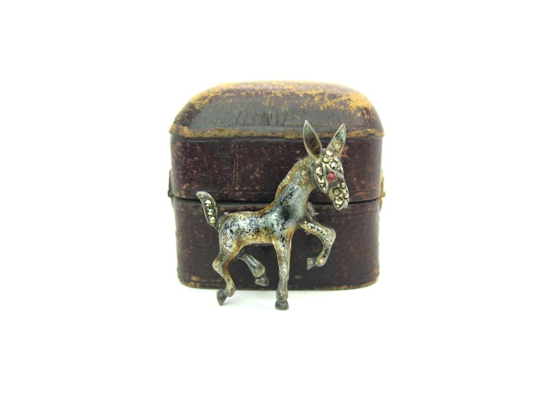Enamel Sterling Donkey Brooch, Made in Germany