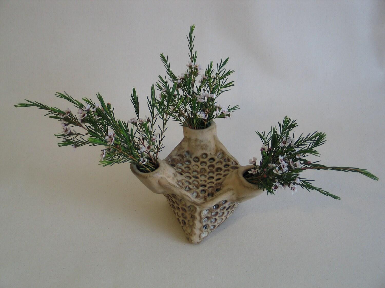 Ceramic Honeycomb vase.  Apis habilis:  Vase Number 7