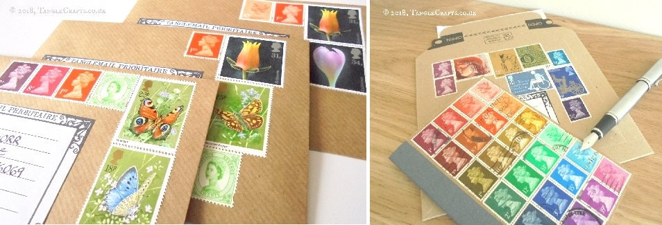 Themed stamp envelopes by TangleCrafts