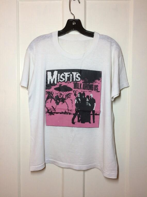 1982 the Misfits Walk Among Us pink white t-shirt